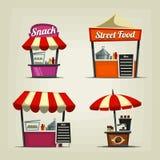 Illustrazione del supporto dell'alimento della via di pasto rapido del fumetto di vettore nel festival illustrazione vettoriale