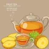 Illustrazione del tè dell'ananas Fotografia Stock Libera da Diritti