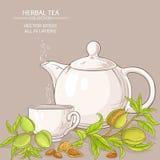 Illustrazione del tè della mandorla Immagini Stock
