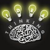 Illustrazione del taglio della carta del cervello e delle lampadine Fotografia Stock