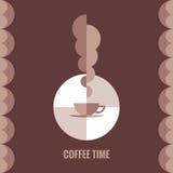 Illustrazione del tempo di concetto di vettore del caffè per il progetto creativo Geometrico astratto Fotografia Stock Libera da Diritti