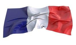 Illustrazione del tessuto 3d della bandiera della Francia Immagini Stock