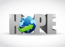 Illustrazione del testo e del globo di speranza 3d Immagine Stock