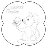 Illustrazione del topo che tiene l'uovo nella festività della resurrezione affinchè bambini decorino la progettazione di carta royalty illustrazione gratis