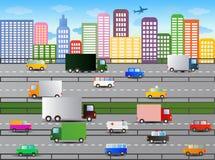 Illustrazione del traffico cittadino Fotografie Stock Libere da Diritti
