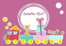 Illustrazione del treno dei bambini con la giraffa ed il regalo Fotografia Stock Libera da Diritti