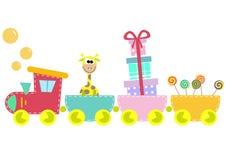Illustrazione del treno dei bambini isolata sulla parte posteriore di bianco Fotografia Stock