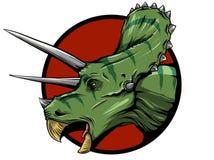 Illustrazione del triceratopo dalla famiglia di grandi dinosauri cornuti sui precedenti verdi Serie di preistorico illustrazione di stock