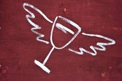 Illustrazione del vetro di vino con le ali. Fotografie Stock