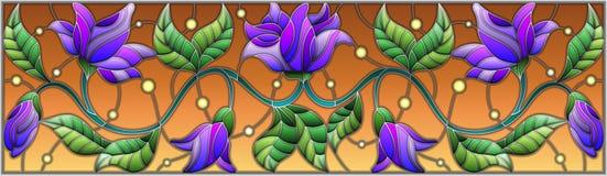 Illustrazione del vetro macchiato con i fiori blu astratti su un fondo marrone Fotografia Stock