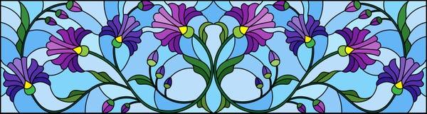 Illustrazione del vetro macchiato con i fiori blu astratti su un fondo blu, orientamento orizzontale royalty illustrazione gratis
