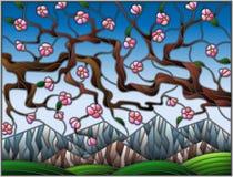 Illustrazione del vetro macchiato con i fiori di ciliegia su un fondo delle montagne e del cielo Fotografia Stock