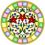 Illustrazione del vetro macchiato con i fiori e le foglie rossi di astrazione su un fondo giallo nel telaio luminoso illustrazione di stock