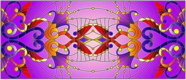 Illustrazione del vetro macchiato con i turbinii astratti, i fiori e le foglie su un fondo porpora, orientamento orizzontale Immagini Stock