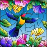 Illustrazione del vetro macchiato con il colibrì variopinto su fondo del cielo, della pianta e dei fiori illustrazione vettoriale