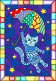 Illustrazione del vetro macchiato con il gatto volante divertente sull'ombrello contro il cielo notturno stellato illustrazione vettoriale