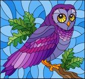 Illustrazione del vetro macchiato con il gufo colourful favoloso che si siede su un ramo di albero contro il cielo illustrazione vettoriale
