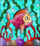 Illustrazione del vetro macchiato con il pesce esotico variopinto astratto in mezzo di alga, di corallo e delle coperture Immagini Stock Libere da Diritti