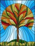 Illustrazione del vetro macchiato con l'albero astratto di autunno sul fondo del cielo Fotografia Stock