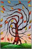 Illustrazione del vetro macchiato con l'albero di salice di autunno sul fondo del cielo illustrazione di stock