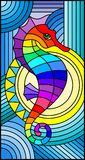 Illustrazione del vetro macchiato con l'ippocampo astratto favoloso del pesce, pesce di arcobaleno su fondo blu illustrazione vettoriale