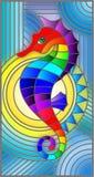 Illustrazione del vetro macchiato con l'ippocampo astratto favoloso del pesce, pesce di arcobaleno su fondo blu royalty illustrazione gratis