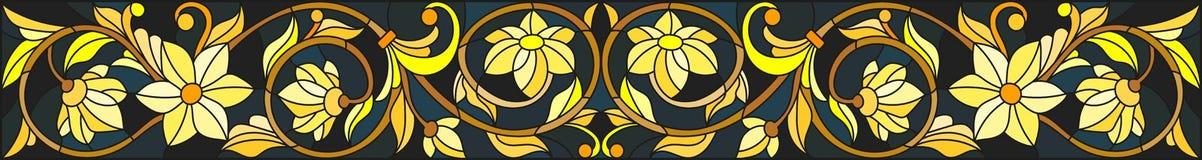 Illustrazione del vetro macchiato con l'ornamento floreale, l'oro d'imitazione su fondo scuro con i turbinii ed i motivi floreali illustrazione vettoriale