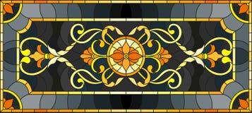 Illustrazione del vetro macchiato con l'ornamento floreale, l'oro d'imitazione su fondo scuro con i turbinii ed i motivi floreali illustrazione di stock