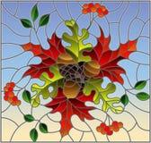 Illustrazione del vetro macchiato con la composizione in autunno, le foglie luminose ed i frutti su fondo blu, immagine rettangol Fotografia Stock