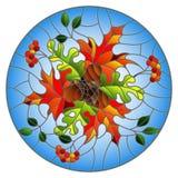 Illustrazione del vetro macchiato con la composizione in autunno, le foglie luminose ed i frutti su fondo blu, immagine rotonda Fotografia Stock