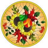 Illustrazione del vetro macchiato con la composizione in autunno, le foglie luminose, i fiori ed i frutti su fondo giallo, immagi Immagini Stock Libere da Diritti