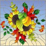 Illustrazione del vetro macchiato con la composizione in autunno, le foglie luminose, i fiori ed i frutti sul fondo del cielo, im Fotografie Stock
