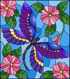 Illustrazione del vetro macchiato con la libellula luminosa contro il cielo, il fogliame ed i fiori rosa Immagini Stock Libere da Diritti