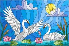 Illustrazione del vetro macchiato con le coppie i cigni, fiori e canne di Lotus su uno stagno al sole, cielo e nuvole Fotografie Stock