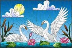 Illustrazione del vetro macchiato con le coppie i cigni, fiori e canne di Lotus su uno stagno al sole, cielo e nuvole Fotografia Stock