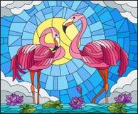Illustrazione del vetro macchiato con le coppie il fenicottero, fiori e canne di Lotus su uno stagno al sole, cielo e nuvole Fotografia Stock Libera da Diritti