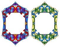 Illustrazione del vetro macchiato con le strutture, ornamenti floreali illustrazione vettoriale