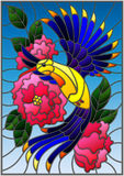 Illustrazione del vetro macchiato con un bello uccello blu luminoso ed il ramo della pianta di fioritura su un fondo blu illustrazione di stock