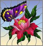 Illustrazione del vetro macchiato con un fiore rosa e una farfalla porpora luminosa su un fondo del cielo Immagine Stock Libera da Diritti