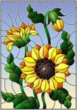 Illustrazione del vetro macchiato con un mazzo dei girasoli, dei fiori, dei germogli e delle foglie del fiore sul fondo del cielo illustrazione di stock