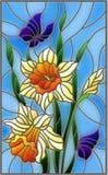 Illustrazione del vetro macchiato con un mazzo dei narcisi gialli e delle farfalle blu su un fondo blu illustrazione vettoriale