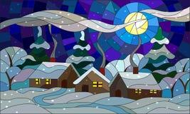 Illustrazione del vetro macchiato con un paesaggio del villaggio di inverno Fotografia Stock Libera da Diritti
