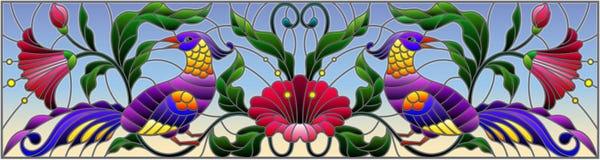 Illustrazione del vetro macchiato con un paio degli uccelli, dei fiori e dei modelli astratti su un fondo del cielo, immagine ori Fotografie Stock Libere da Diritti