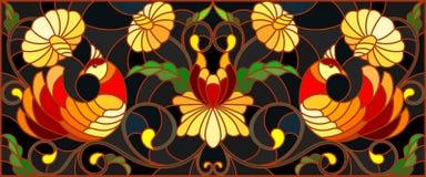 Illustrazione del vetro macchiato con un paio degli uccelli, dei fiori e dei modelli su un fondo scuro, immagine orizzontale, l'i illustrazione vettoriale