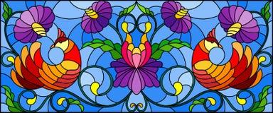 Illustrazione del vetro macchiato con un paio degli uccelli rossi astratti, dei fiori porpora e dei modelli su un fondo blu, imag Immagini Stock