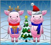 Illustrazione del vetro macchiato con un paio dei maiali del fumetto e di un albero di Natale su un fondo di neve e del cielo Fotografia Stock
