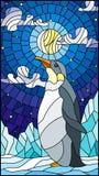 Illustrazione del vetro macchiato con un pinguino su un fondo di neve, del cielo stellato, della luna e delle nuvole Fotografia Stock