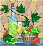 Illustrazione del vetro macchiato con una natura morta, una bottiglia di vino bianco, vetro ed uva su un fondo beige Immagine Stock Libera da Diritti