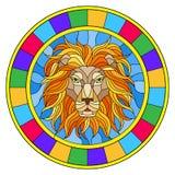 Illustrazione del vetro macchiato con una testa del ` s del leone, un'immagine circolare con la struttura luminosa Fotografia Stock