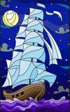 Illustrazione del vetro macchiato con una vecchia navigazione della nave con le vele bianche contro il mare, la luna ed il cielo  Immagini Stock